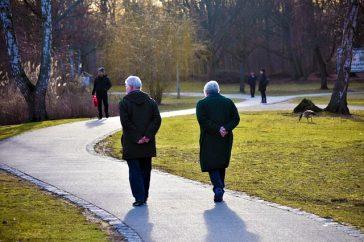 Un couple de personnes séniors prenant une marche dans le parc.