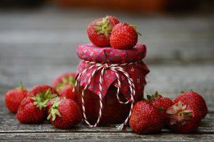 Confiture crue de fraises.
