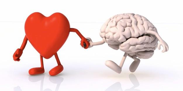 Un coeur qui donne la main à un cerveau.