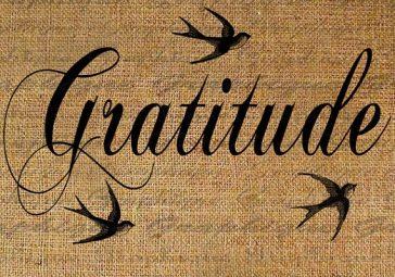 Écriture Gratitude sur planche de bois avec dessins d'oiseaux.